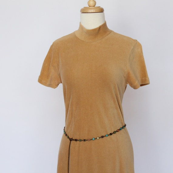 HALF PRICE SALE - Vintage Velour Stretch Knit Mini Dress -  XSmall to Small