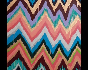 Original ikat chevron 36x48 BELLE Painting by Jennifer Moreman