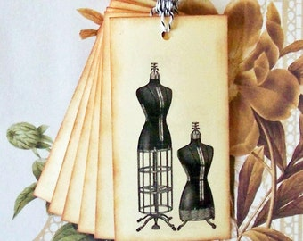 Tags Sewing Dress Form Vintage Style Gift Tag Party Favor House Warming Seamstress T055