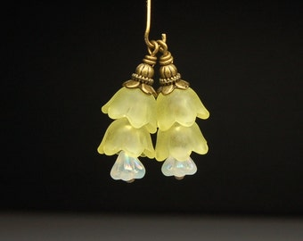 Vintage Style Bead Dangles Yellow Lucite Flowers Pair Y17