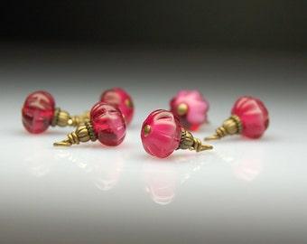 Vintage Style Bead Dangles Fuschia Pink Glass Set of Six PK28