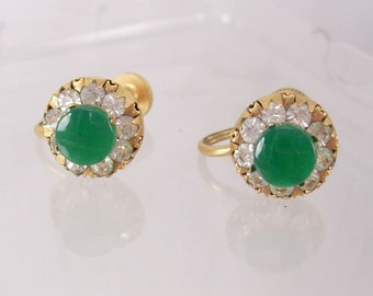 VIntage Chrysoprase Earrings  Jeweled Screw On gold filled