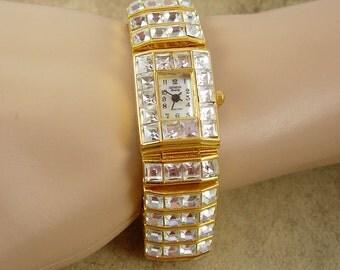 Statement rhinestone Bracelet watch LOADED with heavy crystals working watch