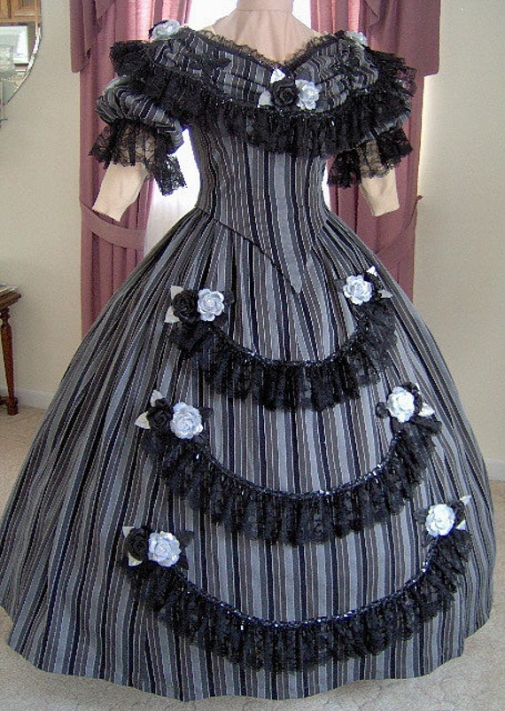 FOR ORDERS ONLY 1800s Victorian Dance Dress 1860s Civil War