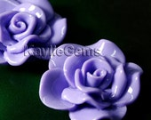 Large Rose Flower  Cabochon Cabs 30mm Vivid Ruffle Petal - Purple