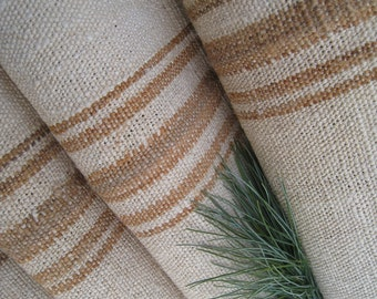 C 799 antique hemp linen WARM CARAMELL wow upholstery cushion 10.71 y wedding decor