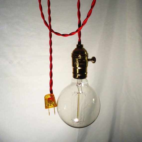 hanging lamp twisted red cord exposed edison bulb by chancestore. Black Bedroom Furniture Sets. Home Design Ideas