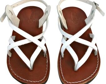 White/Brown Mix Leather Sandals for Men & Women - Handmade Unisex Sandals, Flip Flop Sandals, Jesus Sandals, Genuine Leather Sandals