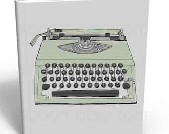 green pastel  Typewriter old --Original Illustrate Drawing  Print transfer on Pillows, t-shirts, scrapbook, lampshades  ETC.v