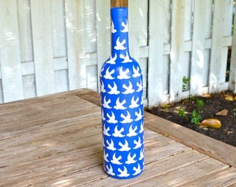 Royal Blue Peace Dove Inspired Upcycled Glass Bottle