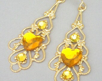 Topaz and gold filigree earrings, baroque yellow heart, gold romantic feminine gift for her, lightweight