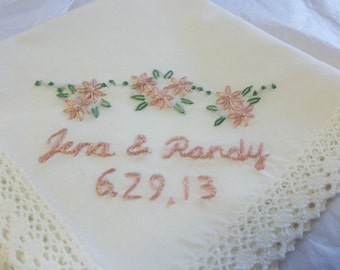 wedding handkerchief, bride and groom gift, hand embroidered,dusty pink, bouquet wrap, personalized w/ name and date, wedding colors welcome