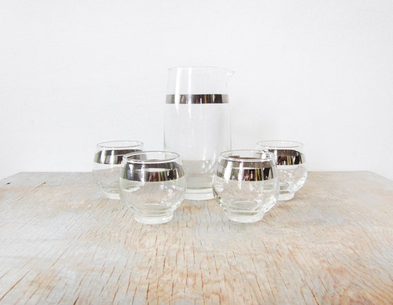 RESERVED vintage 60s cocktail set / Libbey silver band tumblers / mid century roly poly glasses