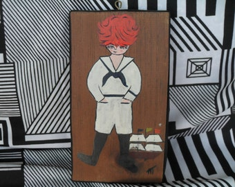 Vintage Red Headed Boy in a Sailor Suit with a Ship Boat Painting on Wood Wall Hanging