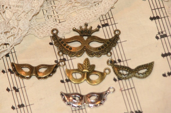 5 Mask Charms - Jewelry, Charms, Scrapbooking, and More