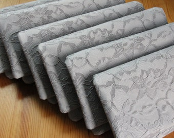 8 Bridesmaid Clutches - Gray Satin Lace Wedding Clutch - Gray Bridesmaid Clutch
