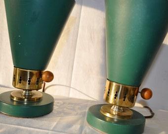 Jade Green Mid Century Vintage Tin Lamp