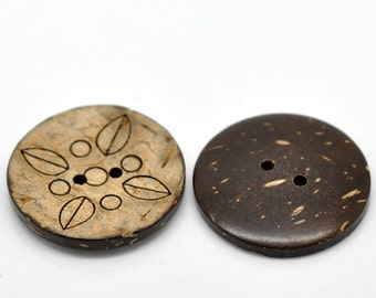 6 Large coconut buttons brown foliage pattern coconut shell round sewing buttons 30mm #BC616