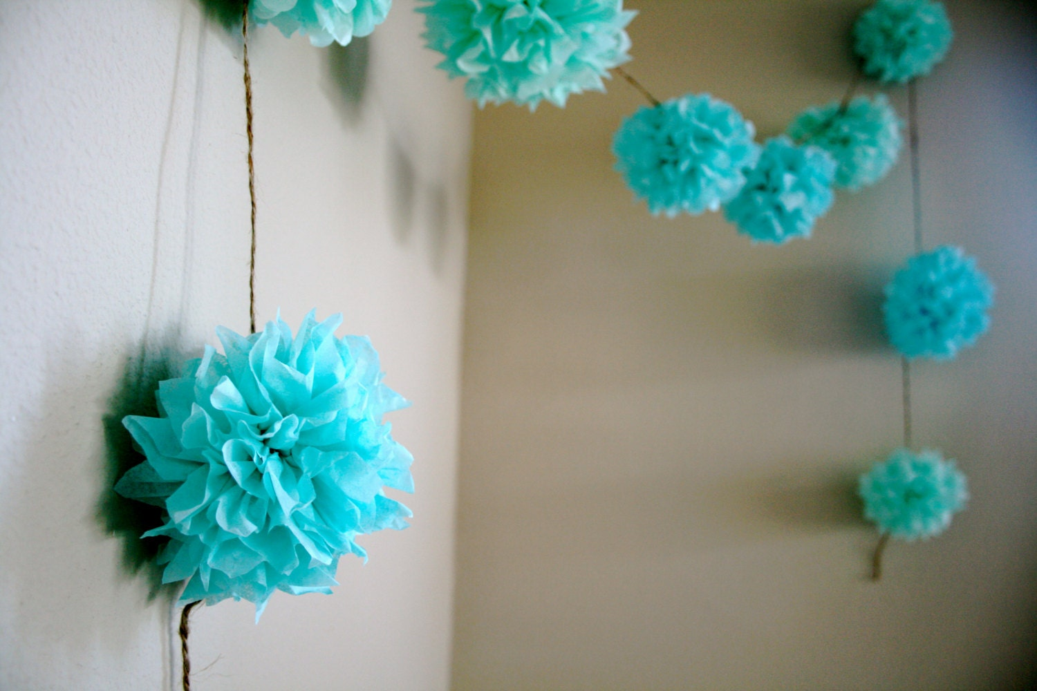 Aqua love diy tissue paper pom garland nursery by for Paper decorations diy