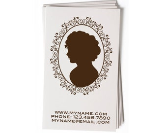 Business Card Stamp   Custom Rubber Stamp   Custom Stamp   Personalized Stamp   Victorian Silhouette Stamp   Cameo Stamp   BC18