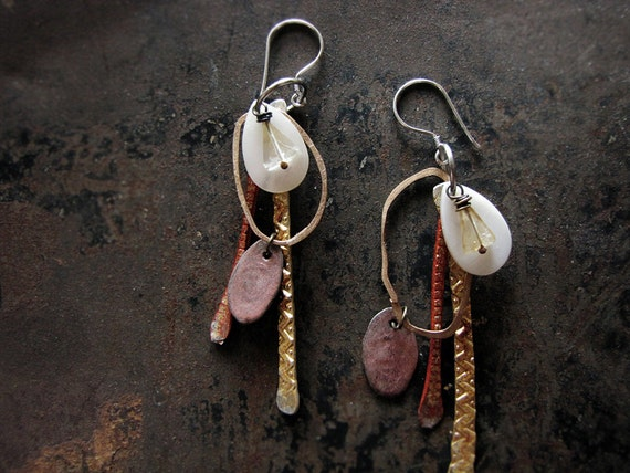 Life on other worlds - salvage tribal earrings - hammered metal - mother of pearl - citrine crystal