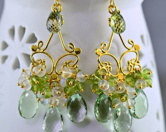 Green Amethyst  Chandelier Earrings Moonstone Peridot 14k Gold Filled Wire Wrapped Earrings