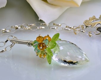 Rock Crystal Peridot Gemstone Necklace ,Apatite,Citrine, Sterling Silver Wire Wrapped Necklace, Tropical Breeze