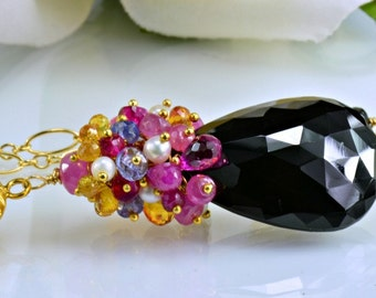 Black Spinel Gemstone Necklace Pink Sapphire Tanzanite Pearl Ruby 14k Gold Filled Wire Wrapped Necklace