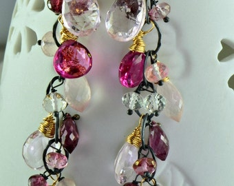 Pink Multi Gemstone Long Dangle Cluster Earrings Sterling Silver Oxidized 14k Gold Filled Gemstone Wire Wrapped Earrings