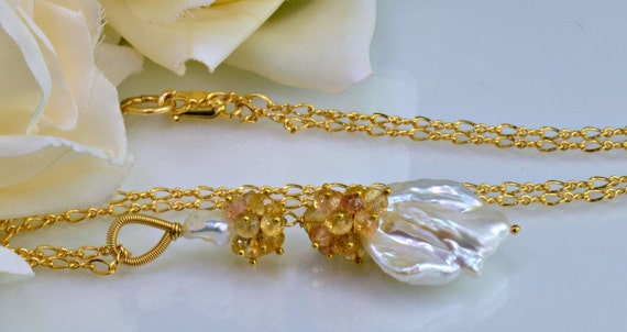 Large Biwa Baroque Pearl Necklace, Imperial Topaz,14k  Gold Filled Wire Wrapped Necklace