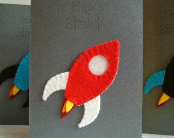 Birthday Card - Rocket - Wool Felt - Decoration