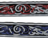 """NEW Thin Celtic Beastie Jacquard Woven Trim 1-1/4"""" Metallic and Non-Metallic; Choice of Colors; Sold by the Yard."""