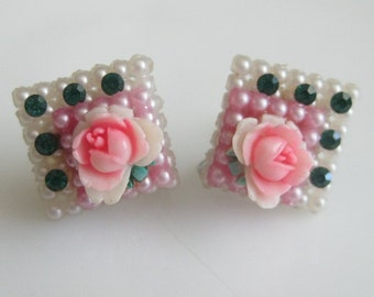 Sweet Vintage Celluloid Floral Earrings Cake Slices - Petit Fours