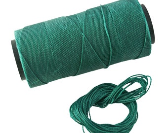 Peacock Green: Waxed Polyester Cord, ~1mm Macrame Cord, pack of 25ft (8.33 yards) / Hilo Encerado, Linha Encerada, Waxed Polyester Thread