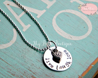 Personalized Hand Stamped Live Laugh Love Necklace with Tiny Heart Charm