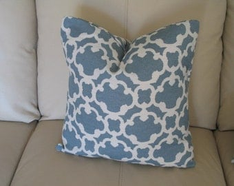 Blue Pillow Cover, 18x18 Pillow Cover, Fretwork