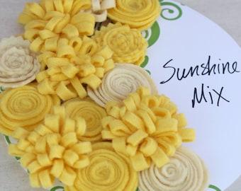 Sunshine Flowers, Yellow Felt Flowers, Handmade Wool Felt Flowers for DIY Projects