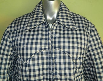 M L Vintage 70s  80s Gingham Check Puffy Jacket Miller Western Wear Denver Colorado Navy White Check