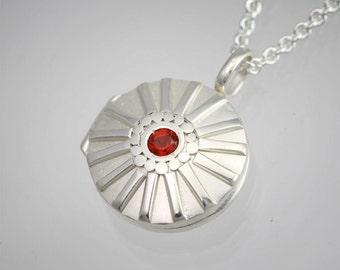 """Locket- Sunburst, Sm. in sterling silver (Mexican Fire Opal) (18"""")"""