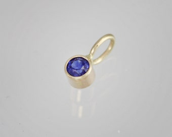 Sapphire Drop Pendant in 14k Yellow Gold (pendant only)