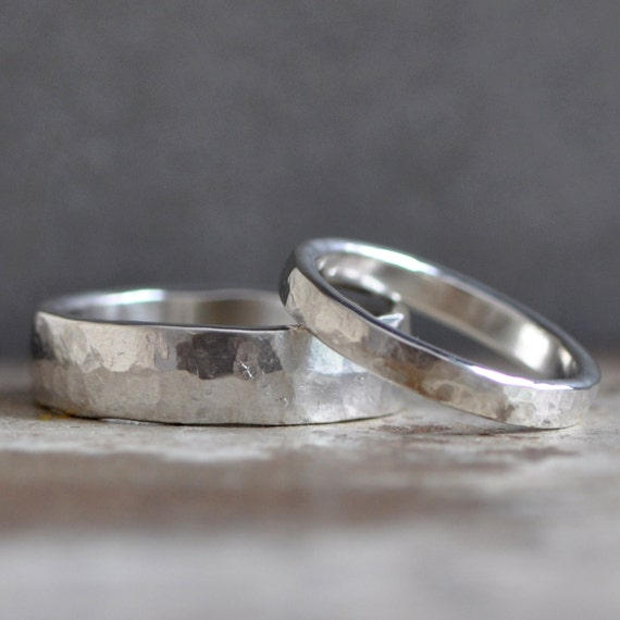 Simplistic Bands: Simple Sterling Silver Ring Bands Silver Wedding Bands Custom