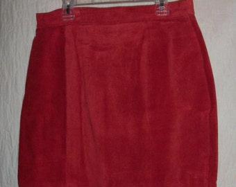 Short Skirt Leather Rust Orange Size 12 High Fashion
