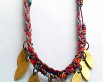 Braided and Beaded Necklace with Hammered Brass Leaves