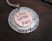 Personalized Key Chain - LOVE YOU DAD  with up to Six Hand Stamped Names