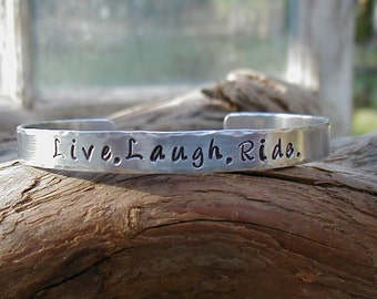LIVE, LAUGH, RIDE  Hand Stamped Cowgirl Equestrian Western Rodeo Horse Lover Cuff