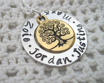 Tree of Life in Goldtone  Mommy Mother Grandma Nanna Necklace with up to Four Names  on Sterling Silver Chain