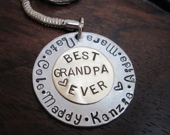 Personalized Key Chain  - Sterling Silver or Aluminum Offered Dad Grandpa, Grandma,. Mom