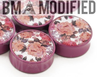 """1 1/16"""" (27mm) Subdued Mauve Floral BMA Modified Plugs Pair"""