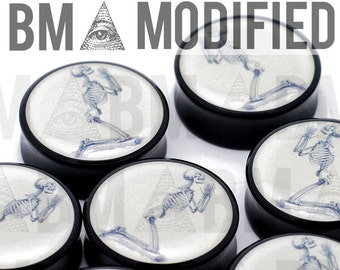 "1"" (25mm) Osteographia Praying Skull BMA Modified Plugs Pair"