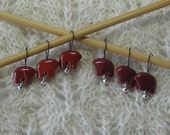 Zuni Bear Knitting Stitch Markers - snag free - Red Jasper zuni bear beads - set of 6 - three loop sizes available